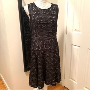 Vince Camuto Black Lace and Cream Dress